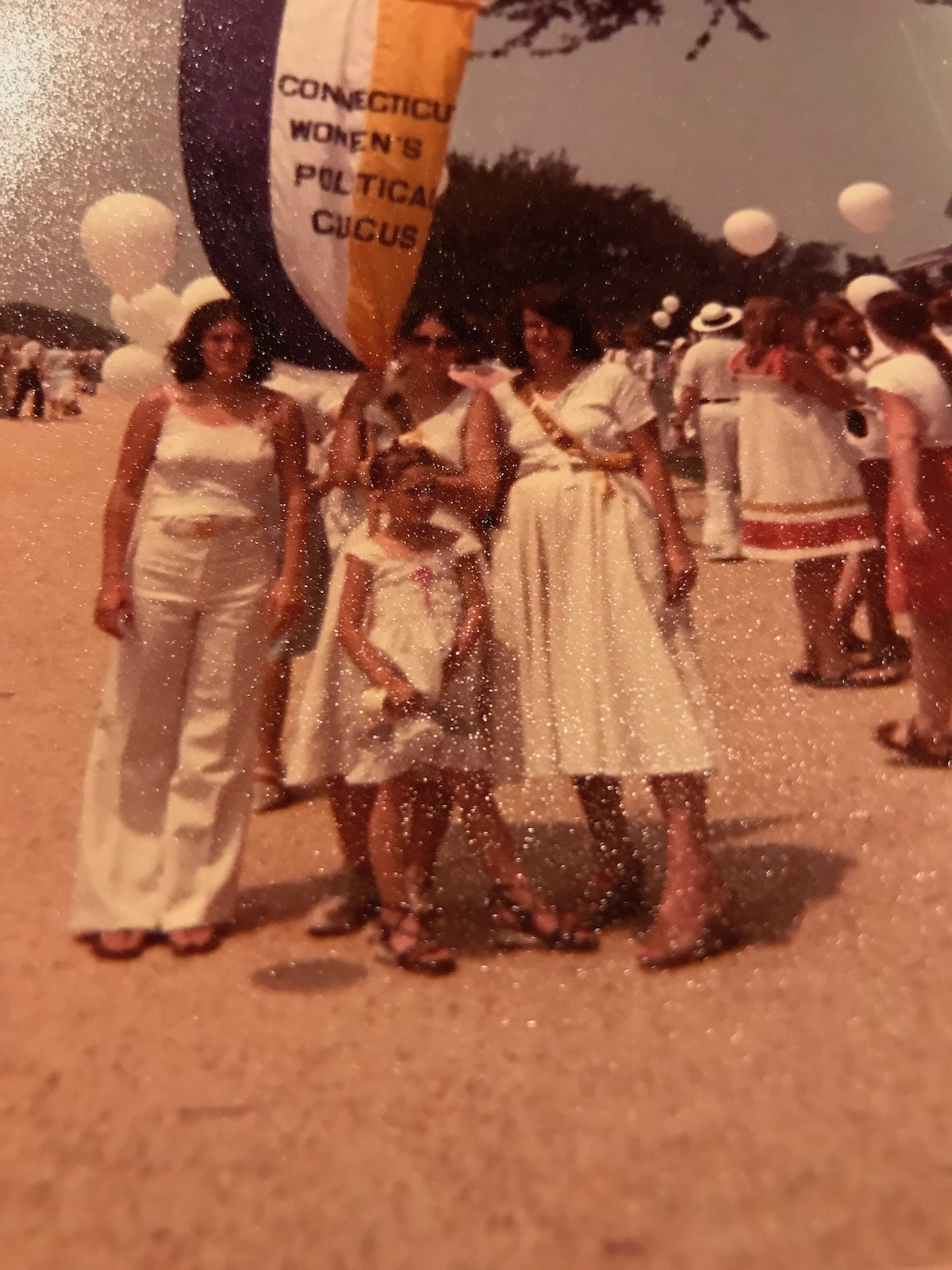 Becky, age 18, March on Washington for Equal Rights Amendment; July 9, 1978, with my mom, Flora Parisky and sister Jenn and Kath